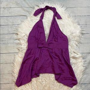 Gucci Purple Silk Blend Bow Halter Tank sz M